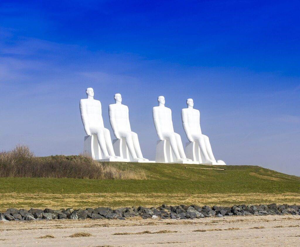 esbjerg, white men, sculpture